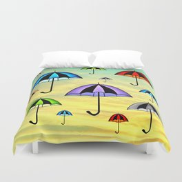 Colorful umbrellas flying in the sky Duvet Cover