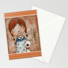 Her Favorite Fella - Red-haired girl and white boxer Stationery Cards