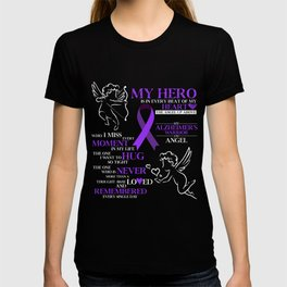 Alzheimers T-Shirt Funny Warrior And Angel Purple Ribbon Tee T-shirt