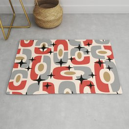 Mid Century Modern Cosmic Abstract 129 Red Gray Gold Black and Beige Rug