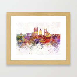 Columbus skyline in watercolor background Framed Art Print