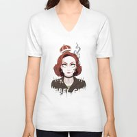 dana scully V-neck T-shirts featuring Punk Scully by Sutexii