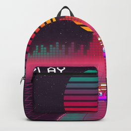 Retro 80s Cyberpunk Synthwave Sunset fast car in Outrun grid design Backpack