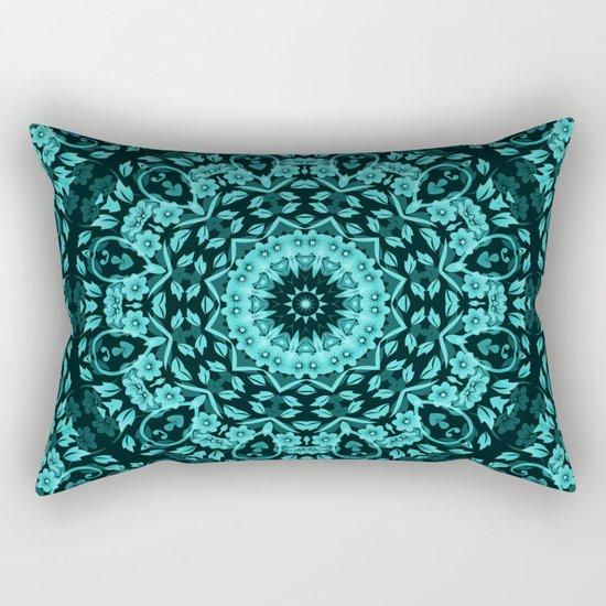 Teal Turquoise Floral Mandala Rectangular Pillow