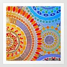 mosaic tile artwork blue orange red green Art Print