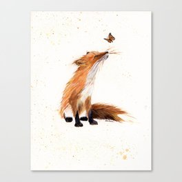 Monarch Fox - animal watercolor painting Canvas Print