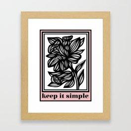 Bright Flowers Pink Black White Framed Art Print