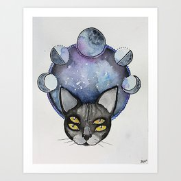 Double Vision Space Cats Art Print