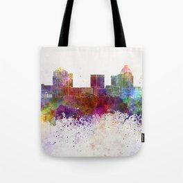 Greensboro skyline in watercolor background Tote Bag