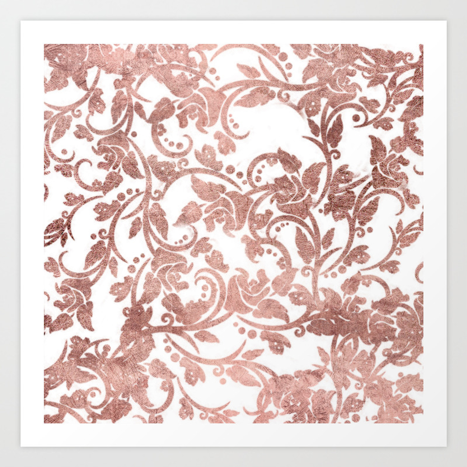 Elegant Girly White Faux Rose Gold Floral Art Print By Pink Water