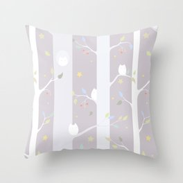 Owl forest (day) Throw Pillow