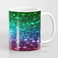 glitter Mugs featuring glitter Cool Tone Ombre by 2sweet4words Designs