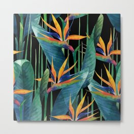 Watercolor Painting Tropical Bird of Paradise Plants large Metal Print