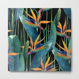 Watercolor Painting Tropical Bird of Paradise Plants large Metal Print
