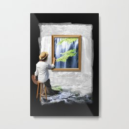 Artist women painting nature with waterfall Metal Print