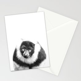 Black and white lemur animal portrait Stationery Cards