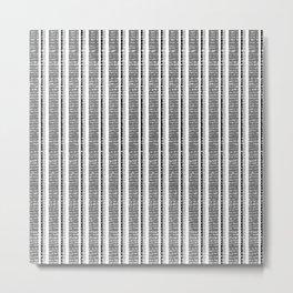 Black and white pinstripe pattern Metal Print