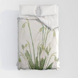 white snowdrop flower watercolor Comforters