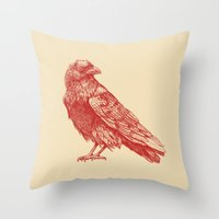 raven Throw Pillows featuring Red Raven  by Terry Fan