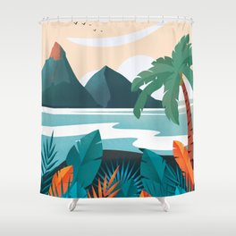 Hawaii travel poster Shower Curtain