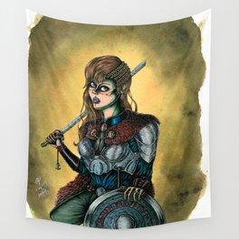 Portrait of Shieldmaiden Wall Tapestry