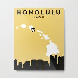 HONOLULU HAWAII LOVE CITY SILHOUETTE SKYLINE ART Metal Print