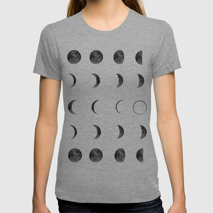 Moon Phases on Black Sky T-shirt