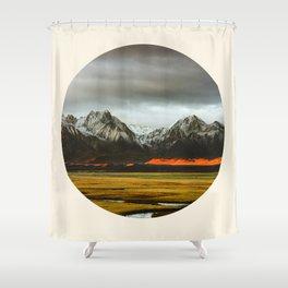 Iceland Landscape Grass Orange Sand & Grey Mountains Round Frame Photo Shower Curtain