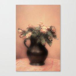Pink roses in vintage metal jar Canvas Print