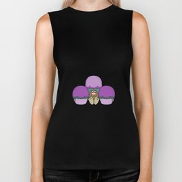Cute Monster With Purple And Cyan Frosted Cupcakes Biker Tank
