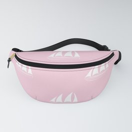 White Sailboat Pattern on pink background Fanny Pack