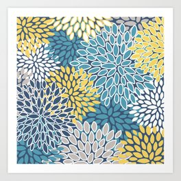 Flower Print, Yellow, Teal and Blue, Print Art Art Print