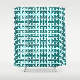 Teal and White Greek Key Pattern Shower Curtain