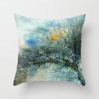lake Throw Pillows featuring Lake by Iris V.