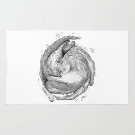 Cat Nap Curl Up Circle, Black and White Rug