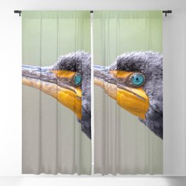 Watercolor Bird Cormorant, What are YOU Looking At? Blackout Curtain