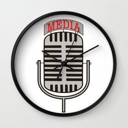 """Media"", an old fashioned microphone illustrated graphic.  Wall Clock"