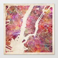 new york map Canvas Prints featuring New York Map Watercolor by Map Map Maps