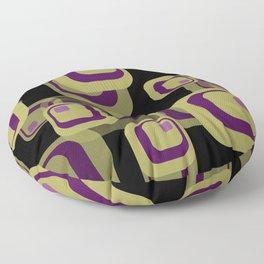 Rectangles yellow violet vintage black Mid Century Floor Pillow