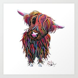 Scottish Highland Cow ' BoLLY ' by Shirley MacArthur Art Print