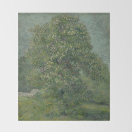 Horse Chestnut Tree in Blossom Throw Blanket