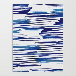 Shibori Paint Vivid Indigo Blue and White Poster