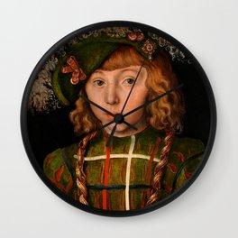 "Lucas Cranach the Elder ""Portrait of Johann Friedrich the Magnanimous"" Wall Clock"