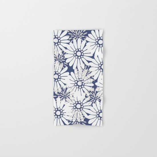 Summer Flowers Dark Blue Hand & Bath Towel