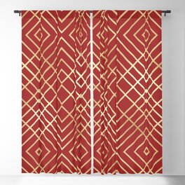 Modern Chinese Red Art Deco Geometric Pattern Blackout Curtain
