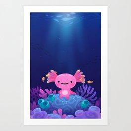 Coral axolotl Art Print