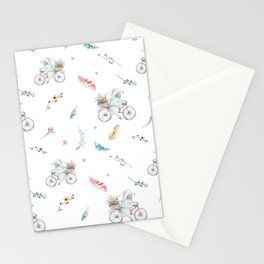 Modern pastel pink blue gray watercolor bicycle rabbit floral Stationery Cards