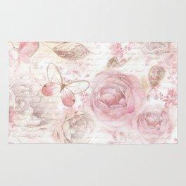 Vintage pastel pink brown butterfly floral typography Rug
