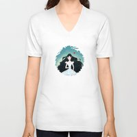 snow white V-neck T-shirts featuring Snow White by Serena Rocca