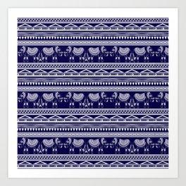 White and Navy Blue Elephant Pattern Art Print